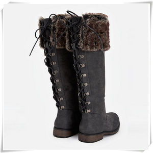 Low Heel Lace Up Detail Fur Trim Boots in Grey